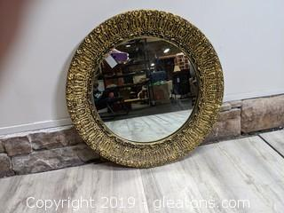 Vintage Round Gold Filigree Mirror Beautifully Detailed