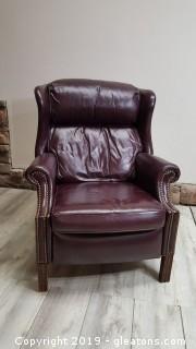 Dark Maroon Wingback Genuine Leather Recliner With Brass Bottom Detail