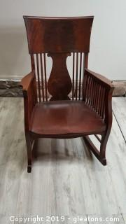 Vintage Solid Wood Lyre Back Rocker