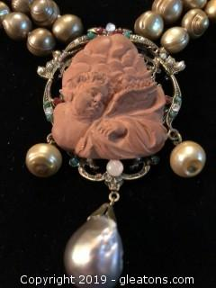 High End Terra Cotta, fuax pearl, pendant necklace.