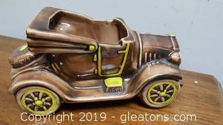 Vintage Ceramic Old Tan Color Automobile Convertible Planter USA