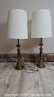 Pair Of Vintage Tall Brass Lamps