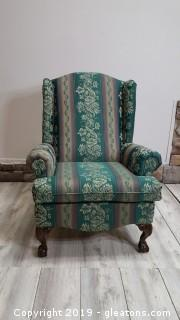 Wing Back Chair Well Done With Carved Claw Feet