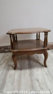 Vintage Square Double Shelf French Country Oak Provincial End Table/Drum Table