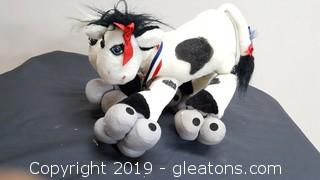 Vintage 1987 Up In The Air Two (2) Headed Jersey Cow On Skates Plush Animal