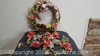 Floral Lot Wreath/(2) Large Candle Rings