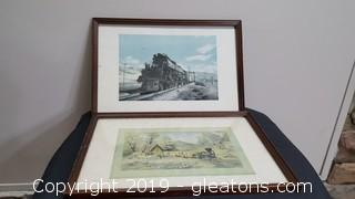 Wood Framed Vintage Old Train Prints (PR Of Then)