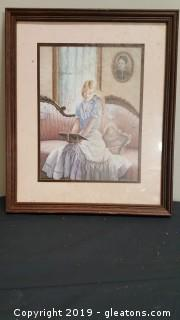 Framed Vintage Girl Reading Print Wall Picture