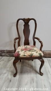 Nicely Covered Wooden Shell Detail Matching Covered Bottom Dining Arm Chair