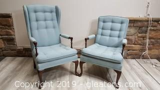 Pair Of Pennsylvania House Vintage Wing Back Arm Accent Chairs
