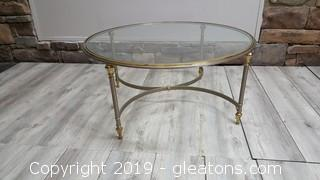 Mid Century Vintage Brass Round Glass Top Heavy Coffee Table