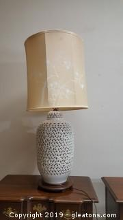 XXL VIntage Lamp White French Embossed Aged White Ceramic Table Lamp/Oriental