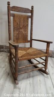Vintage Large Rocking Chair Rush Bottom/Back