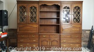 (6) Piece Wall Unit Pennsylvania House Credenza Desk/Book Case