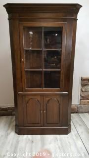 Vintage Corner China Cabinet With Inside Lighting And Bottom Storage
