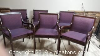 Nice Set Of (6) Covered Seated/Padded/Armed Office Chairs/Sitting