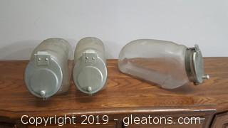 Vintage (3) Glass With Metal Top Canisters
