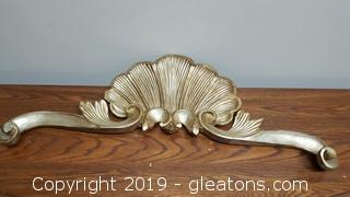 Vintage French Gold Gilded Wall Mount Ornament/Decor Pediment