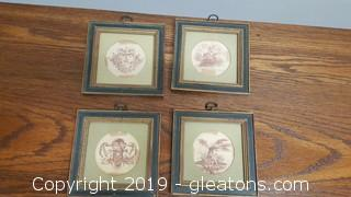 Vintage Small Wall Wooden Framed Brass Hanger Sketched Cherub Decor Set (4)