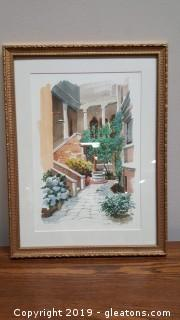 Vintage Water Color Signed/Italy Gold Frame/Matted