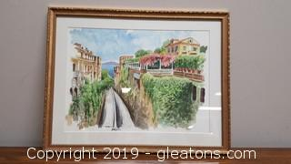 Framed Vintage Watercolor Italy Signed