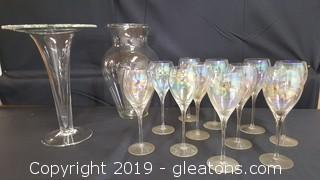 Lot Of Glassware (11) Vintage Wine Goblets With Iridescent Glass (2) Large Vases
