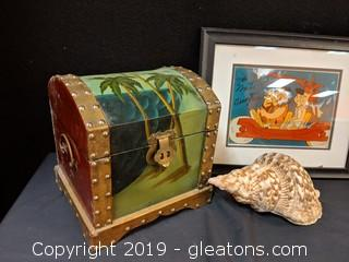 Autographed Framed Print Flintstones Shell Chest