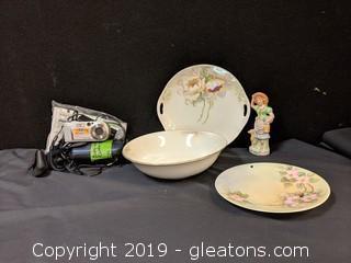 Box Lot Sony Cyber Shot Camera Glass Ware Figurine