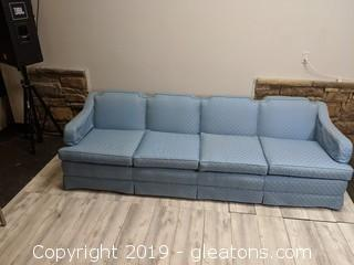 Large Sturdy Blue Patterned Sofa W/Arm Covers
