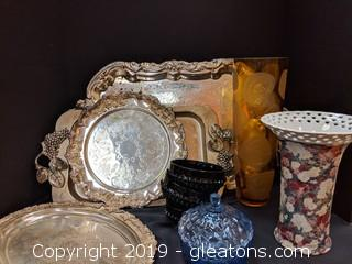 Box Lot Silver Trays Vases Bowls Candy Dish