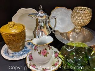 Box Lot Silver Bowl China Pitcher + Bowl