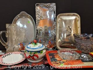 Box Lot Silver Platters Captain. Morgan Glasses