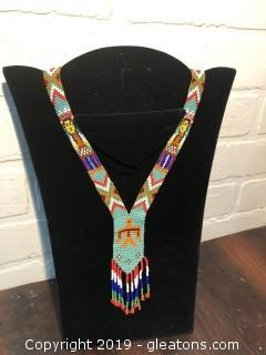 Vintage Native American Aztec Beaded Loom Gerdan Fringe Necklace