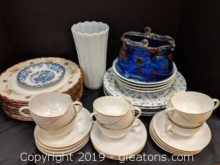 Box Lot Blue Vase + Dishes
