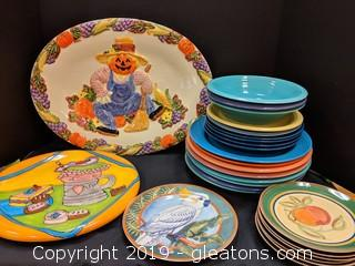"Box Lot ""Colorful Platters & Plates"""