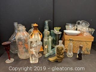 Box Lot Misc Old Bottles & Assorted Glassware
