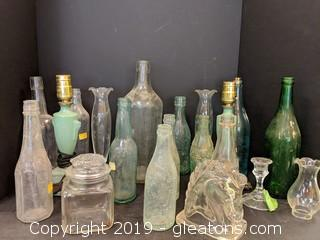 Box Lots Old Bottles Set of Small Lamps