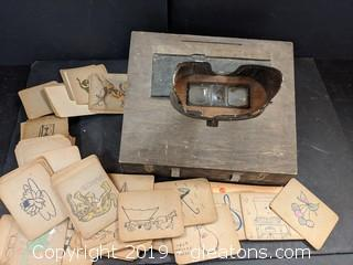 Box Lot Possible Antique Authentic Eye Correction Device W/Huge Set of Cards/Pictures