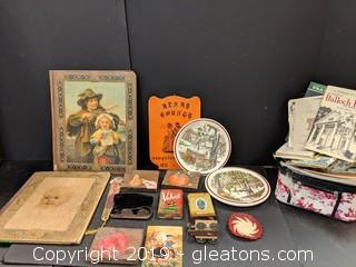Box Lot Vintage Tobacco Cans, Spectacles, Scrapbooks, Plates, Maps Letters & More