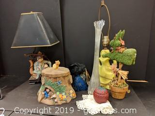Box Lot Cookie Jar Vase Dollie Lamp Feather Hat Monkey Lamp