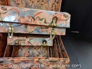 Box Lot Cherubs set of 4 Nesting Trunks