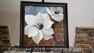Large Nice Magnolia Floral Plastic Wood Like Frame