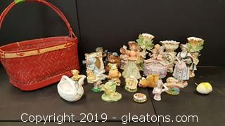 Lot of Vintage Glass/Porcelain Figurines in Basket