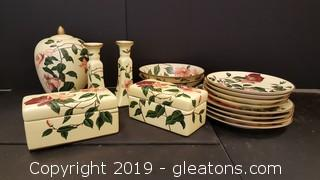 "Set of Decorative Matching Rose Pattern ""New"" Home Decorative Plates, Vases Candle Sticks"