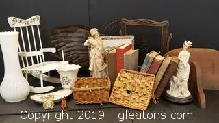 Large Lot of Vintage Boxes, White Milk Glass Large Vace, Wire Swan, Victorian  Figurines, Vintage Cigar Box