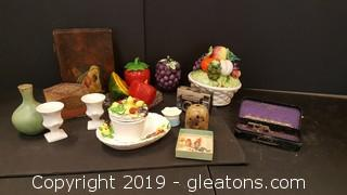 Lot of Vintage Fruit Decor, Metal Attachments Greist Sewing Machine, Vintage Camera, Vaces, Wood Bible Box