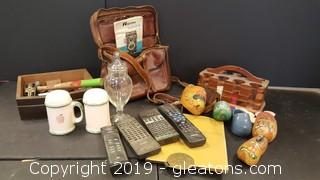 Vintage Lot of Wooden Hand Painted Shoes, Lighter Box Poker Chips, Camera Bag, Remotes Adds and Ends