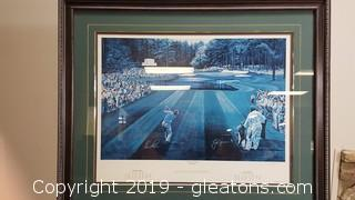 "Large Nicely Framed and Matted Augusta Nationals Wall Print ""Sunday in Augusta"" by Ted Hamlin"
