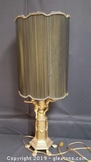 Vintage Metal Gold Guilded Cherub Table Lamp
