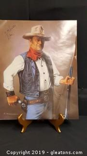 "Signed Poster of John Wayne Signed ""The Duke"""